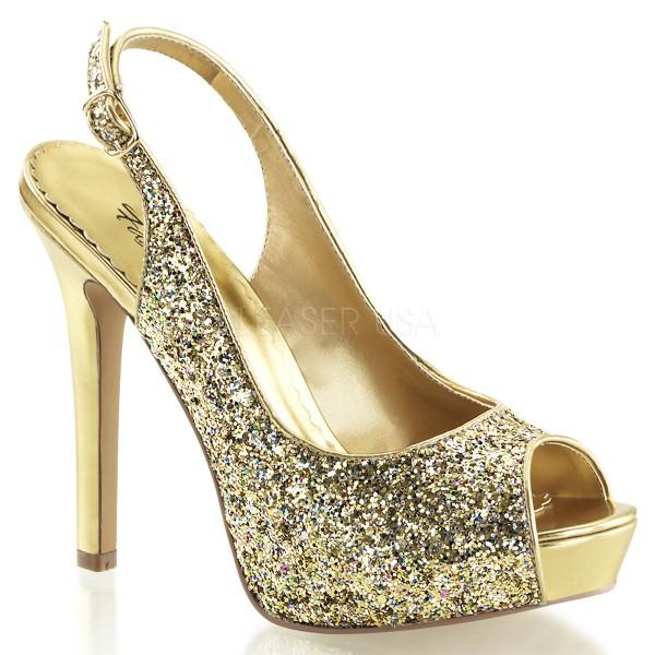 SALE! Fabulicious Damen Glitzer High Heel-Pumps Lumina-28G gold