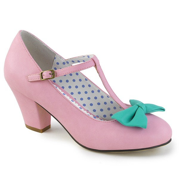 PinUp Couture Damen Spangen Pumps mit Schleife Wiggle-50 pink-teal