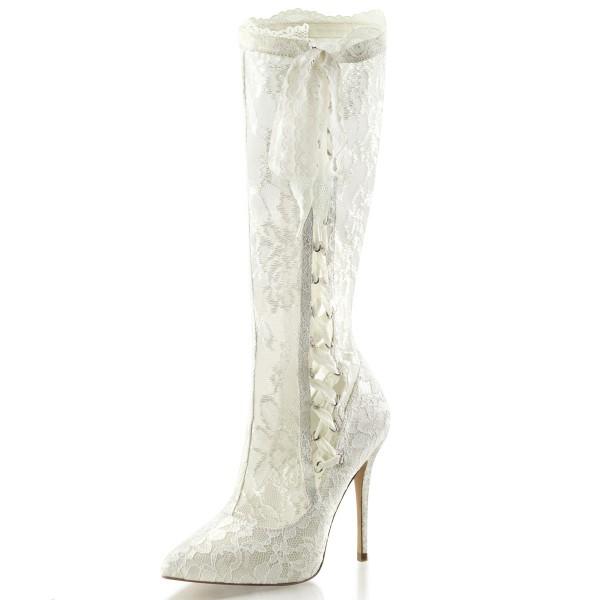 Fabulicious Damen Netz-Kniestiefel Boots Amuse-2012 elfenbein