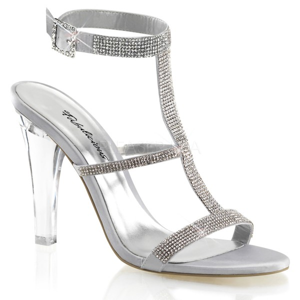 SALE! Fabulicious Damen Sandaletten Clearly-418 Glitter Straß silber