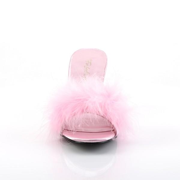 Fabulicious Damen Feder-Pantoletten Amour-03 babypink
