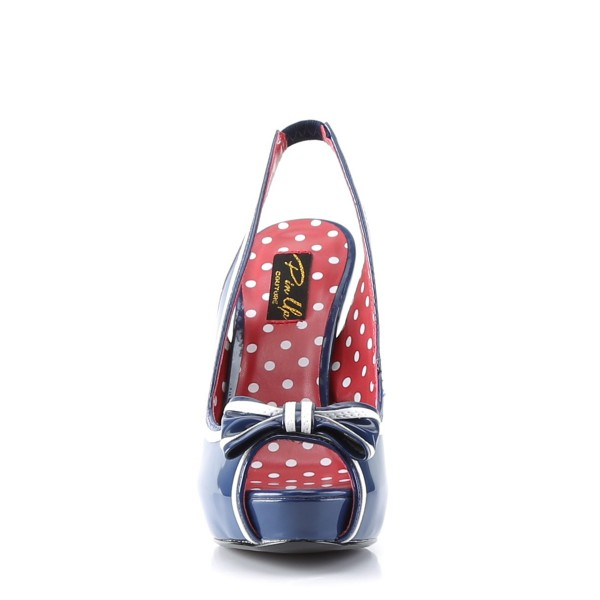 PinUp Couture High-Heels Sandaletten Bettie-05 navy-blau