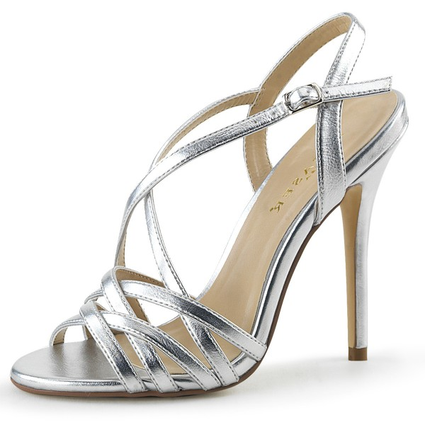 PleaserUSA Damen High Heel Sandalen Amuse-13 silber metallic