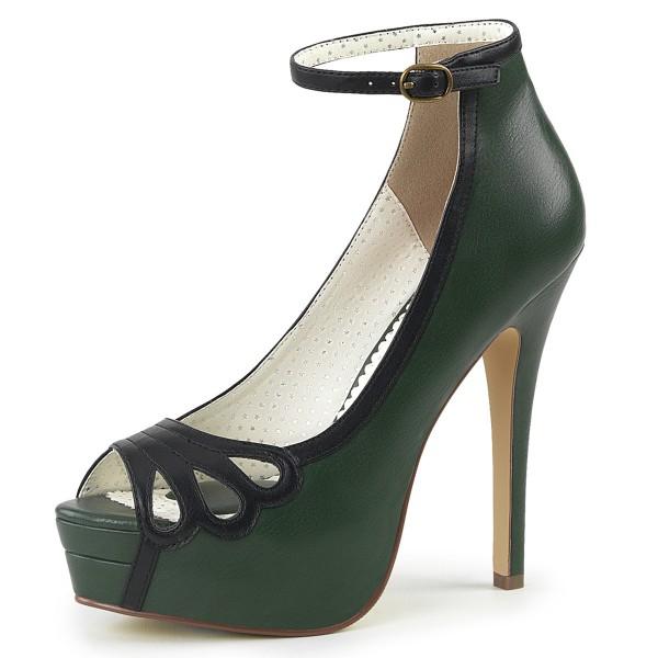 SALE! Pin Up Couture Damen Peep Toe Plateau Riemchen Pumps Bella-31 grün Gr. 41,5