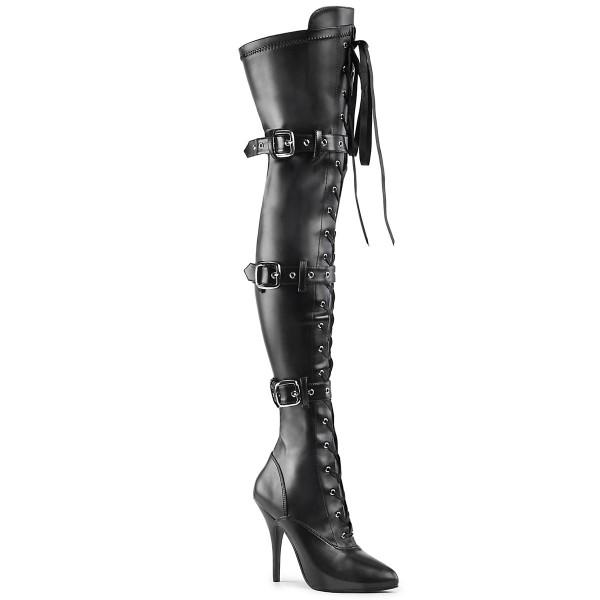 PleaserUSA High Heels-Overkneestiefel Seduce-3028 mattschwarz Stretch