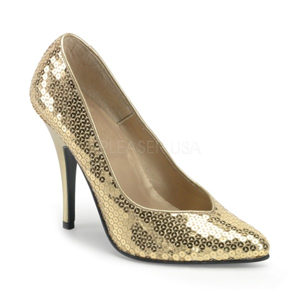 PleaserUSA Pailetten Pumps Seduce-420SQ gold