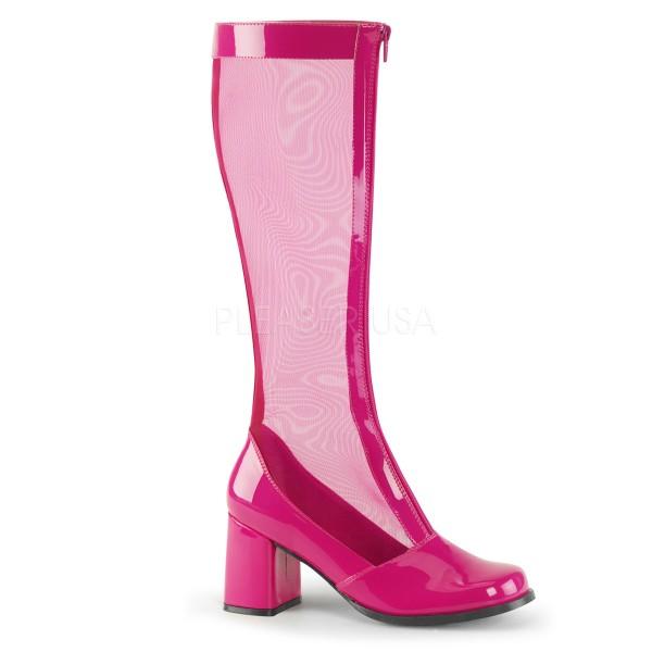 SALE! Funtasma Damen Karneval Netz-Kniestiefel Gogo-307 hot pink Gr. 41,5