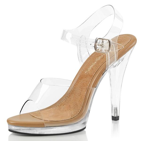 Fabulicious Damen High Heels Sandaletten Flair-408 klar/tan