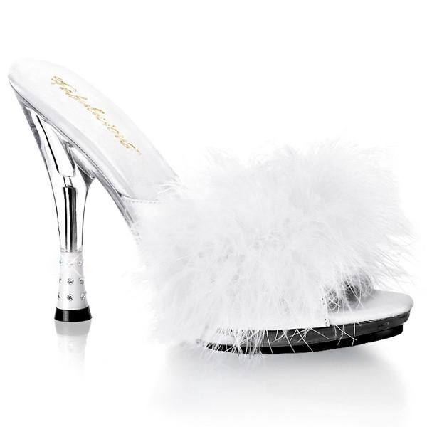Fabulicious Damen Pantolette mit Federboa Glitzy-501-8 weiß