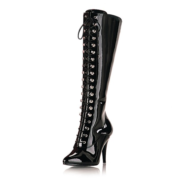 PleaserUSA High Heel-Schnürstiefel Vanity-2020 Lackschwarz