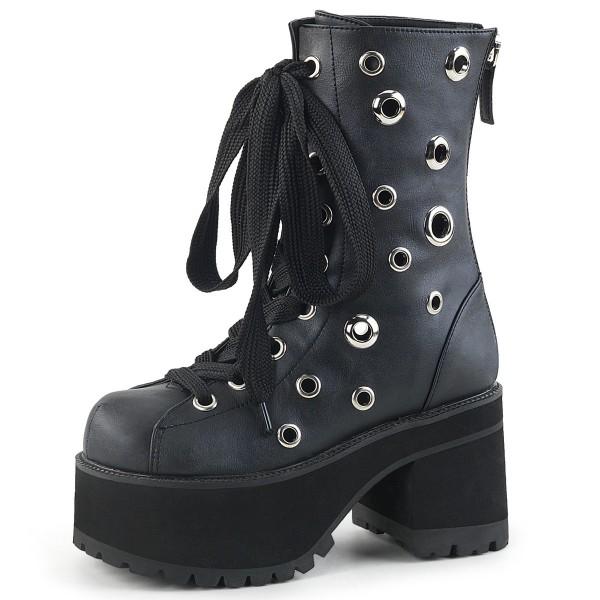 Demonia Damen Boots Plateau und Nieten Ranger-310 schwarz