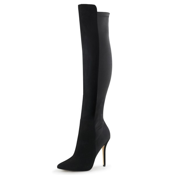 Fabulicious Damen Wildleder-Kniestiefel Boots Amuse-2018 schwarz