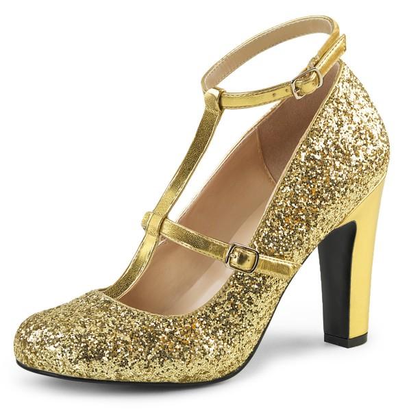 Pink Label Big Size Glitter High Heels Pumps Queen-01 mit T-Spange gold