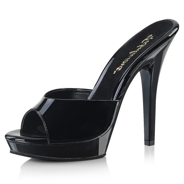 Fabulicious Damen Platform High Heels Pantoletten Lip-101-2 Lack schwarz