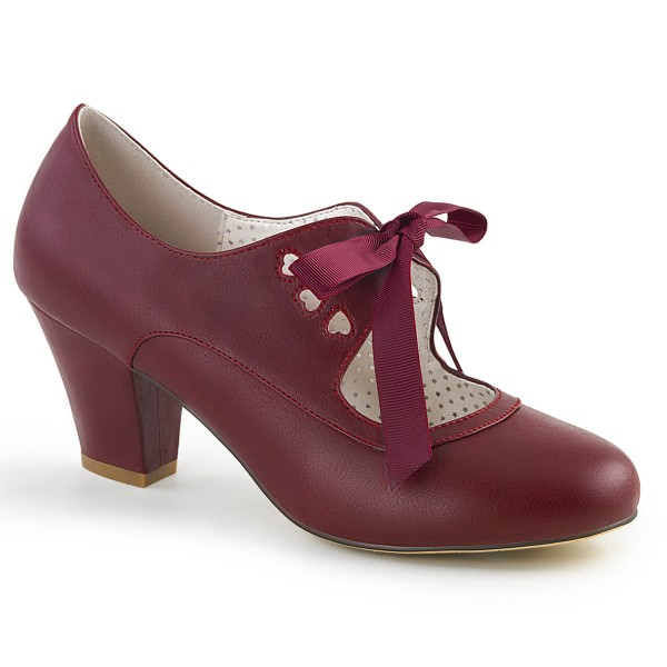 PinUp Couture Damen Mary Janes Pumps mit Schleife Wiggle-32 burgunderrot