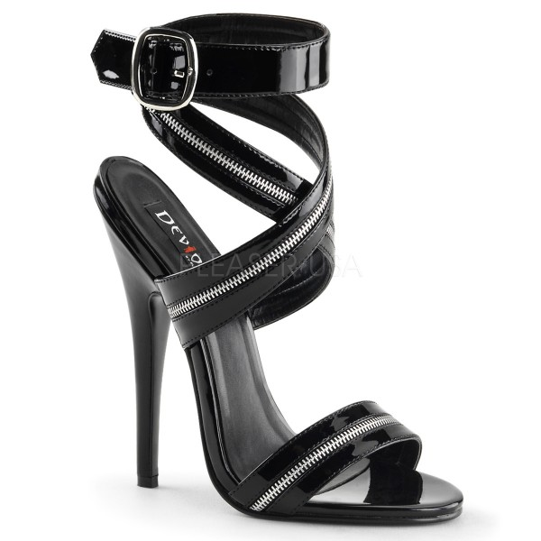 Devious High Heel-Sandaletten Domina-119 Lack schwarz
