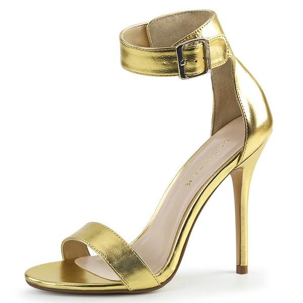 PleaserUSA Damen Riemchen Sandalen Amuse-10 gold metallic
