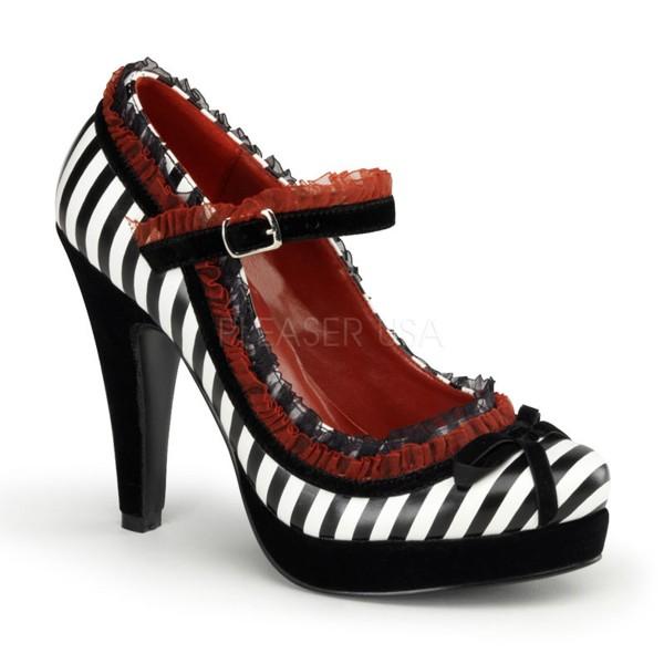 SALE! PinUp Couture Damen High-Heels Pumps Bettie-18 schwarz/weiß