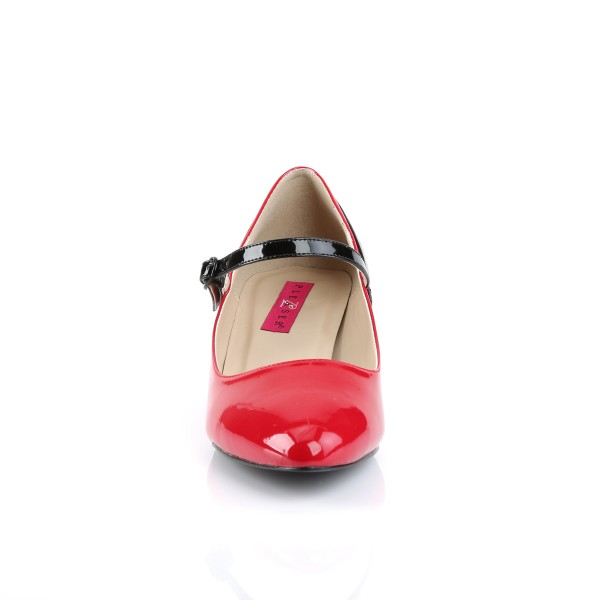 Pink Label Big Size Mary Janes-Pumps Fab-425 Lack rot/schwarz Übergröße