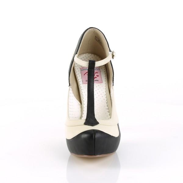 SALE! PinUp Couture Damen T-Riemchen Pumps Bettie-29 schwarz-creme