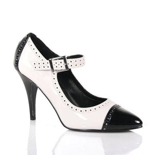 PleaserUSA Damen High-Heel Pumps Vanity-443 Lack schwarz/weiß Gr. 38