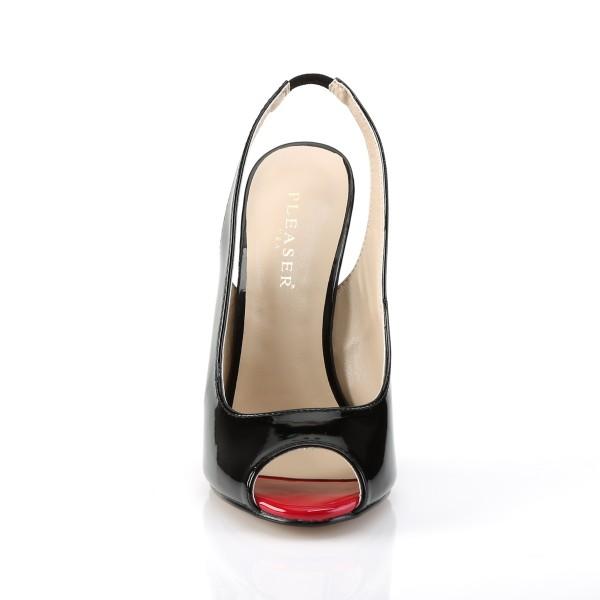 PleaserUSA Damen High Heels-Sandaletten Sexy-08 Lack schwarz