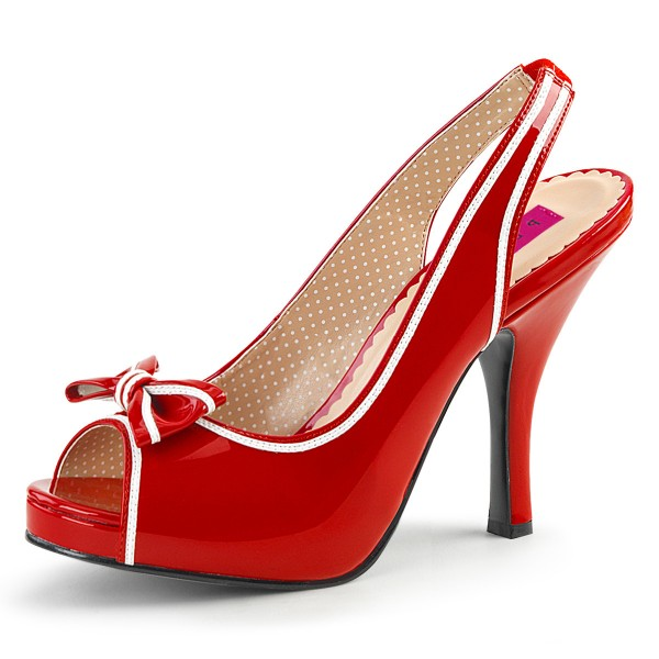 Pink Label Big Size Übergrößen Slingback Peep Toe Pumps Pinup-10 Lack rot