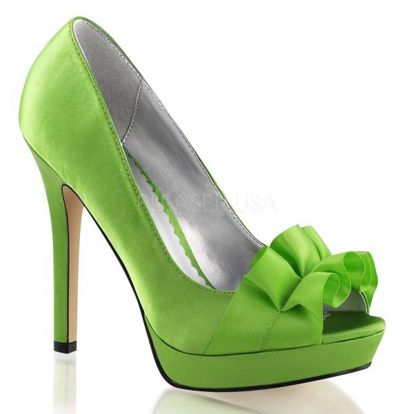 SALE! Fabulicious Damen High Heel Pumps Lumina-42 Satin grün
