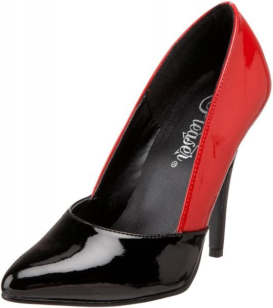 SALE! PleaserUSA Zweifarbige Damen Pumps High Heels Seduce-423 Lack schwarz-rot