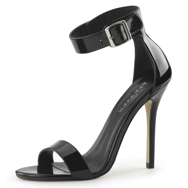 PleaserUSA Damen Ankle Riemchen Sandalen Amuse-10 Lack schwarz