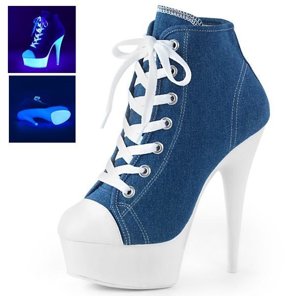 PleaserUSA Damen Stiefeletten Plateau Neon Booties Sport Delight-600SK blau denim