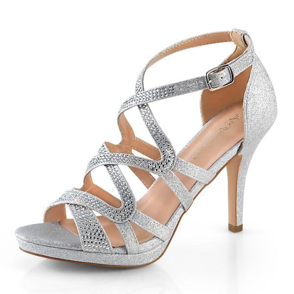 Fabulicious Damen Straß Riemchen Sandaletten Daphne-42 silver fabric