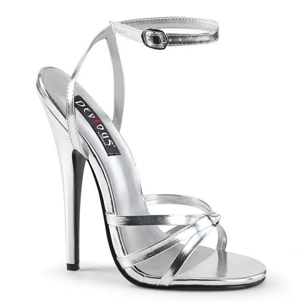 Devious High Heel-Sandaletten Domina-108 Silber metallic