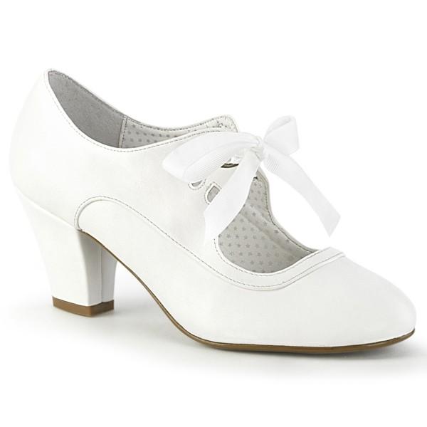 PinUp Couture Damen Mary Janes Brautschuhe mit Schleife Wiggle-32 weiß
