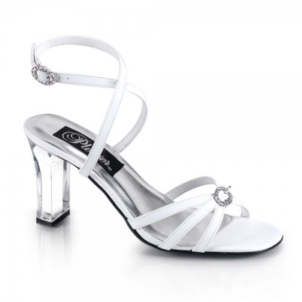 SALE! PleaserUSA Damen Sandaletten Romance-368 Satin weiß Gr. 37