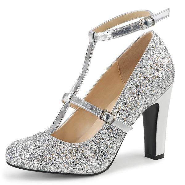 Pink Label Big Size Glitter High Heels Pumps Queen-01 mit T-Spange silber