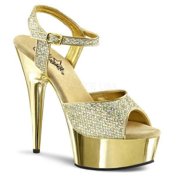 PleaserUSA Damen Plateau-Sandalette Delight-609G gold/gold
