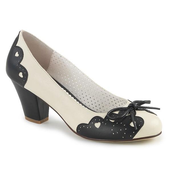 PinUp Couture Damen Pumps mit Herzchen Wiggle-17 schwarz/creme