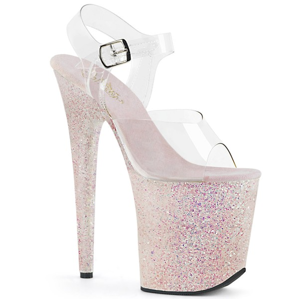 SALE! PleaserUSA Damen Gogo-High Heels Flamingo-808LG klar/opal Gr. 36