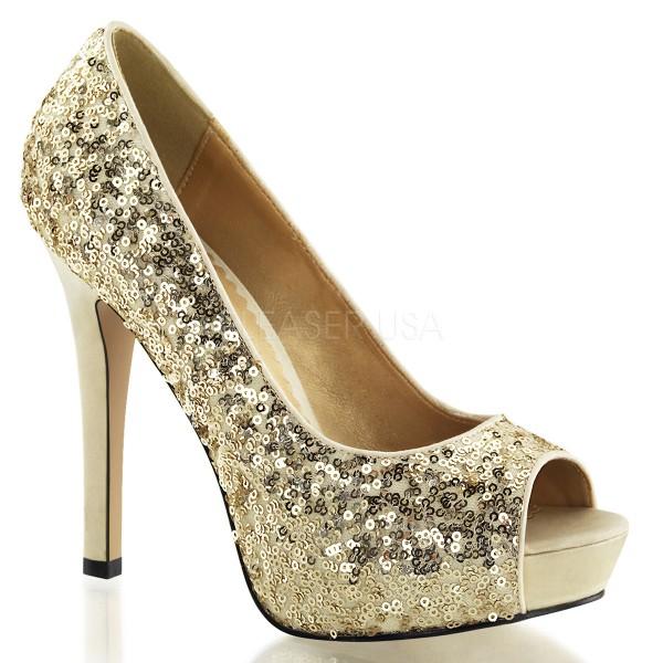 SALE! Fabulicious Damen High Heels Pumps Lumina-27SQ gold