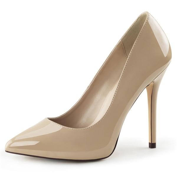 PleaserUSA Damen High Heels Pumps Amuse-20 Lack creme