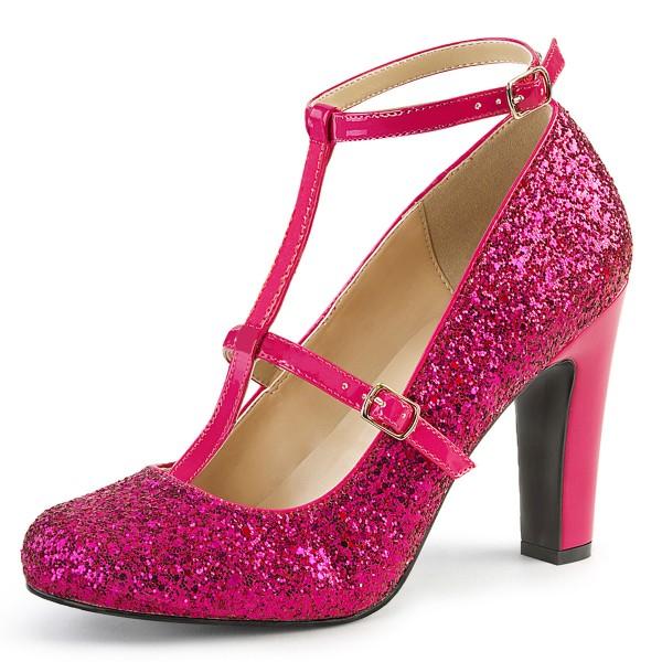 SALE! Pink Label Big Size Glitter High Heels Pumps Queen-01 mit T-Spange hot pink