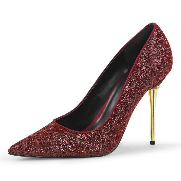 PleaserUSA Damen Stiletto High Heel Pumps Appeal-20G Glitter burgundy