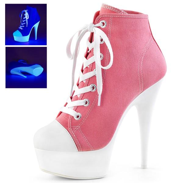 PleaserUSA Damen Stiefeletten Plateau Neon Booties Sport Delight-600SK pink
