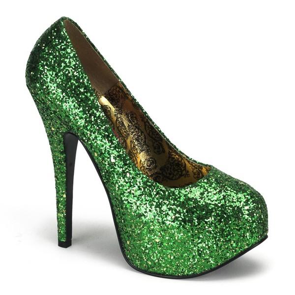Bordello Luxus-Glitter-Pumps Teeze-06G grün