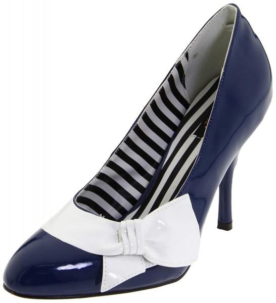 SALE! Pinup Couture Damen Pumps Darling-12 blau/weiß