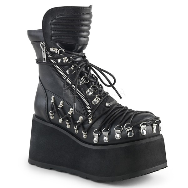Demonia Damen Korsett Platform Boots Clash-150 black vegan leather