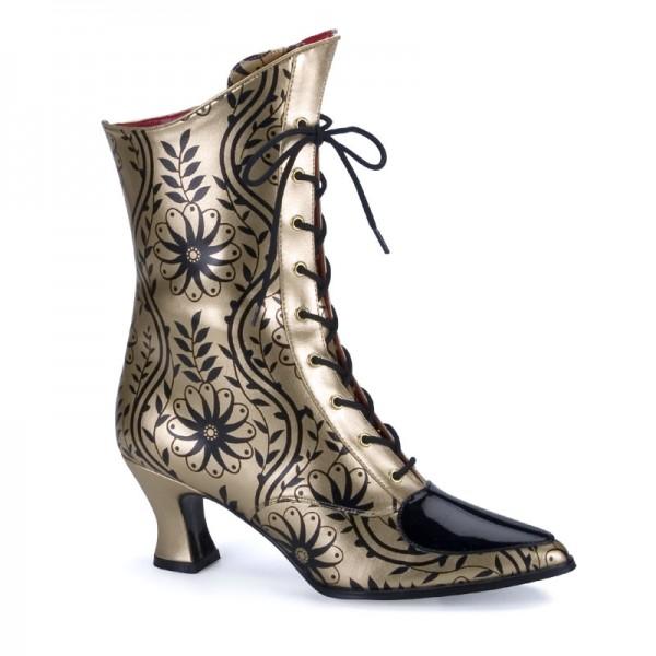 SALE! Funtasma Damen Retro Stiefeletten Victorian-45 gold/schwarz