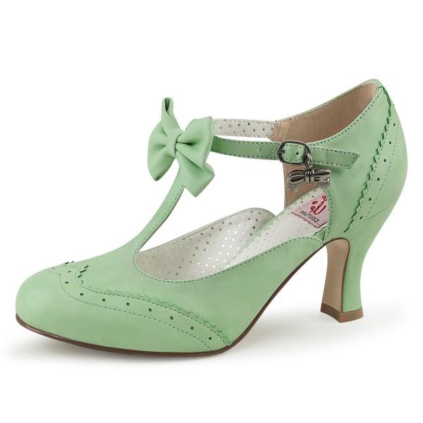 Pin Up Couture Damen T-Strap Spangen Pumps Flapper-11 mint