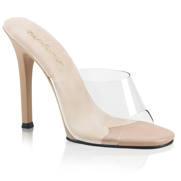 Fabulicious Damen High Heel Pantoletten Gala-01 klar/nude